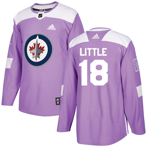 Adidas Jets #18 Bryan Little Purple Authentic Fights Cancer Stitched NHL Jersey