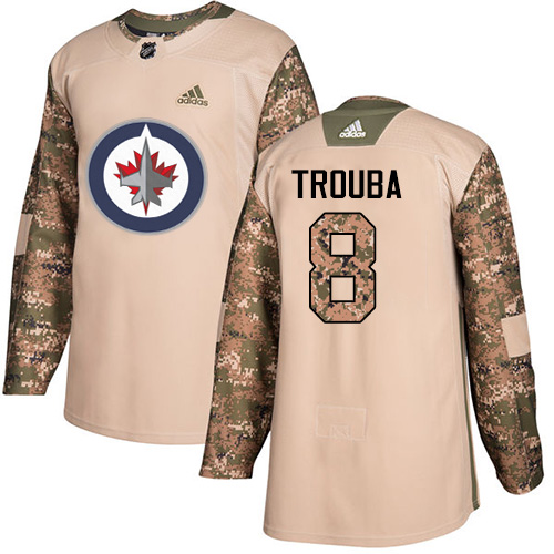 Adidas Jets #8 Jacob Trouba Camo Authentic Veterans Day Stitched NHL Jersey