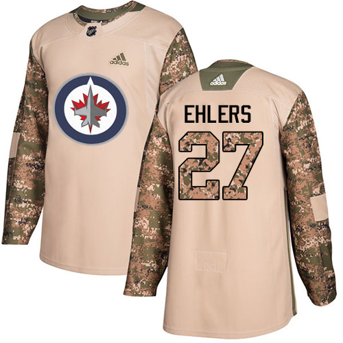 Adidas Jets #27 Nikolaj Ehlers Camo Authentic Veterans Day Stitched NHL Jersey