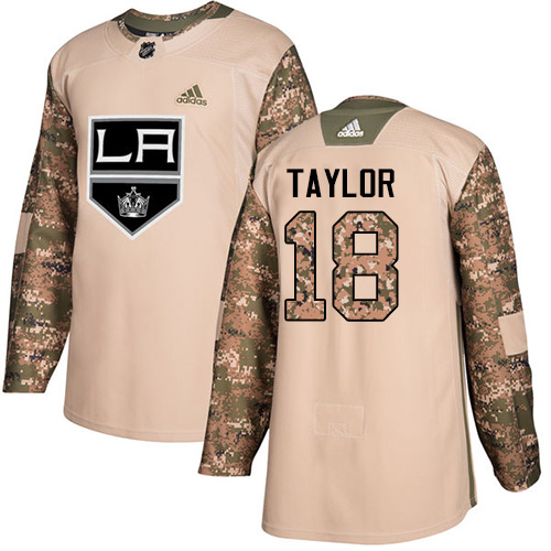 Adidas Kings #18 Dave Taylor Camo Authentic Veterans Day Stitched NHL Jersey