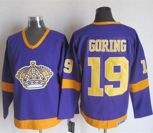 Kings #19 Butch Goring Purple/Yellow CCM Throwback Stitched NHL Jersey