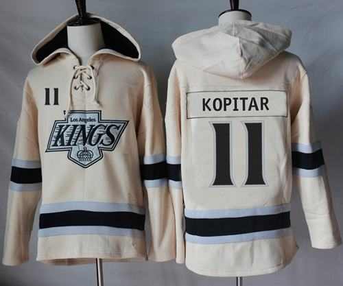 Kings #11 Anze Kopitar Cream Sawyer Hooded Sweatshirt Stitched NHL Jersey