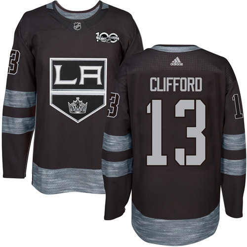 Adidas Kings #13 Kyle Clifford Black 1917-100th Anniversary Stitched NHL Jersey