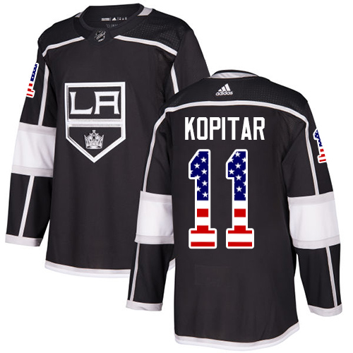 Adidas Kings #11 Anze Kopitar Black Home Authentic USA Flag Stitched NHL Jersey