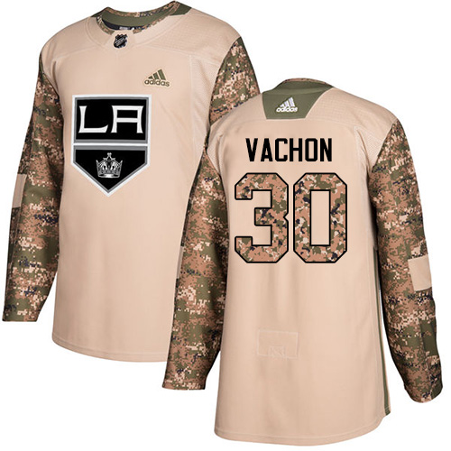 Adidas Kings #30 Rogie Vachon Camo Authentic Veterans Day Stitched NHL Jersey