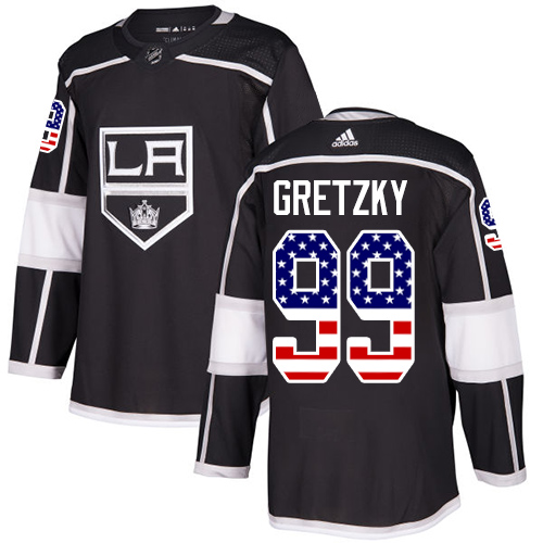 Adidas Kings #99 Wayne Gretzky Black Home Authentic USA Flag Stitched NHL Jersey