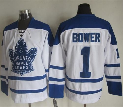 Maple Leafs #1 Johnny Bower White CCM Throwback Winter Classic Stitched NHL Jersey