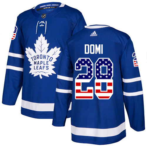 Adidas Maple Leafs #28 Tie Domi Blue Home Authentic USA Flag Stitched NHL Jersey