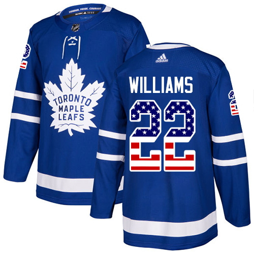Adidas Maple Leafs #22 Tiger Williams Blue Home Authentic USA Flag Stitched NHL Jersey