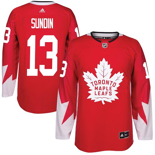 Adidas Maple Leafs #13 Mats Sundin Red Team Canada Authentic Stitched NHL Jersey
