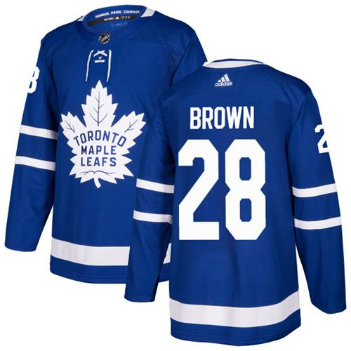 Adidas Maple Leafs #28 Connor Brown Blue Home Authentic Stitched NHL Jersey