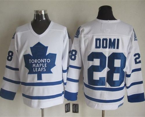 Maple Leafs #28 Tie Domi White CCM Throwback Stitched NHL Jersey
