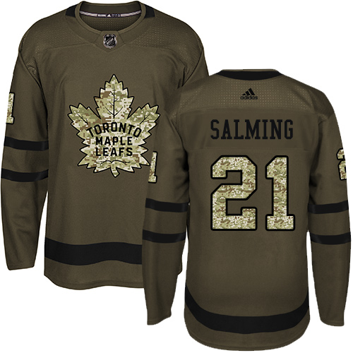 Adidas Maple Leafs #21 Borje Salming Green Salute to Service Stitched NHL Jersey