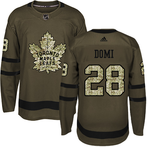 Adidas Maple Leafs #28 Tie Domi Green Salute to Service Stitched NHL Jersey
