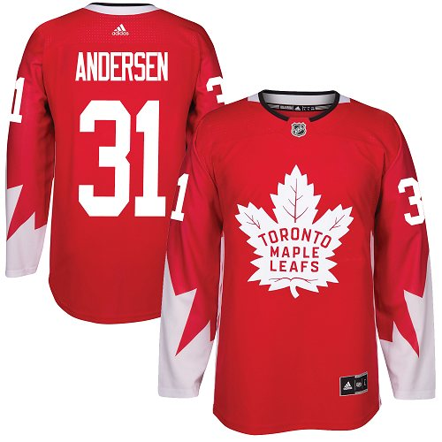 Adidas Maple Leafs #31 Frederik Andersen Red Team Canada Authentic Stitched NHL Jersey