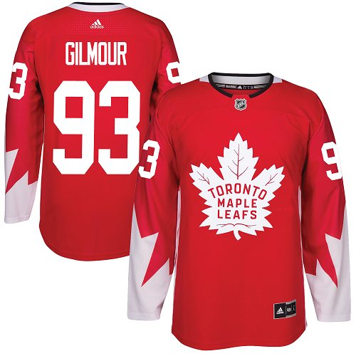 Adidas Maple Leafs #93 Doug Gilmour Red Team Canada Authentic Stitched NHL Jersey