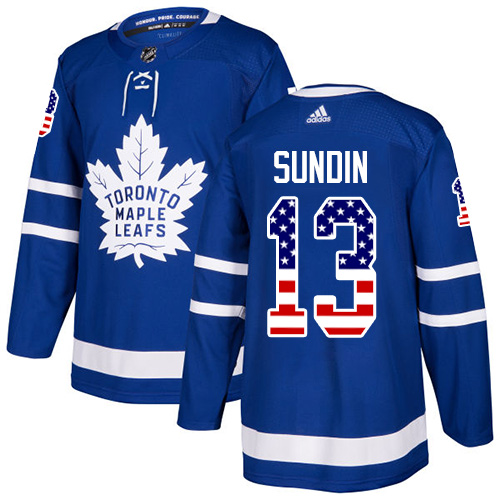 Adidas Maple Leafs #13 Mats Sundin Blue Home Authentic USA Flag Stitched NHL Jersey