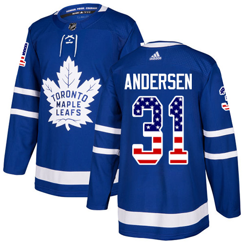 Adidas Maple Leafs #31 Frederik Andersen Blue Home Authentic USA Flag Stitched NHL Jersey