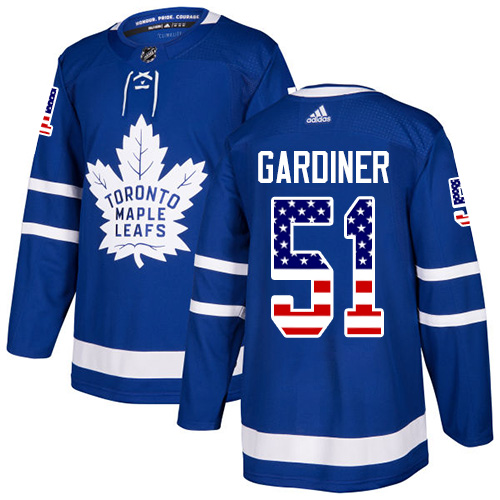 Adidas Maple Leafs #51 Jake Gardiner Blue Home Authentic USA Flag Stitched NHL Jersey