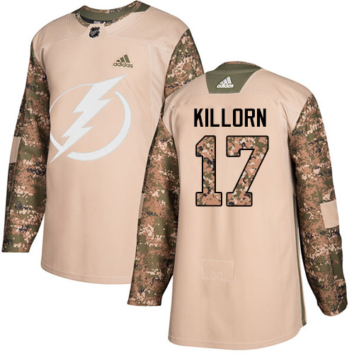 Adidas Lightning #17 Alex Killorn Camo Authentic Veterans Day Stitched NHL Jersey