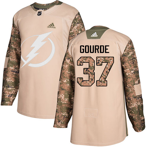 Adidas Lightning #37 Yanni Gourde Camo Authentic Veterans Day Stitched NHL Jersey