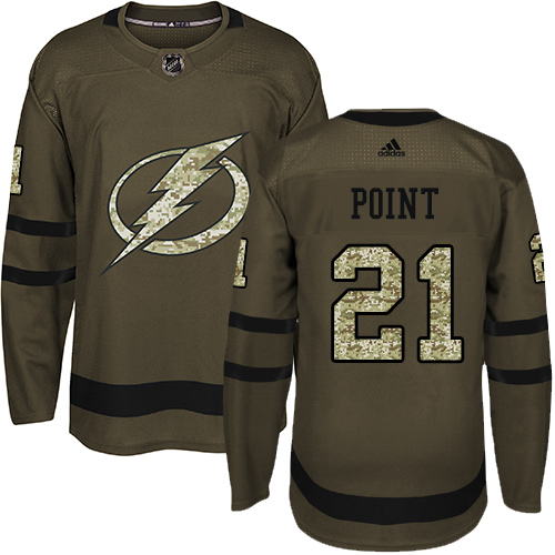Adidas Lightning #21 Brayden Point Green Salute to Service Stitched NHL Jersey