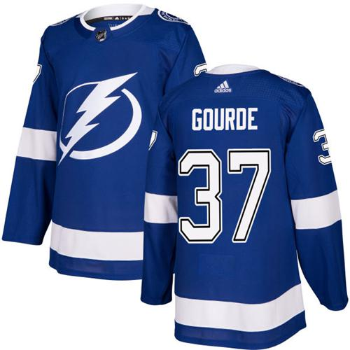 Adidas Lightning #37 Yanni Gourde Blue Home Authentic Stitched NHL Jersey