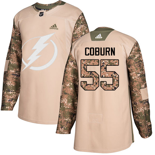 Adidas Lightning #55 Braydon Coburn Camo Authentic Veterans Day Stitched NHL Jersey