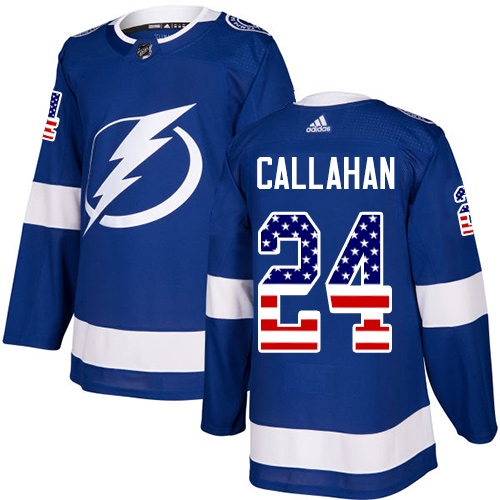 Adidas Lightning #24 Ryan Callahan Blue Home Authentic USA Flag Stitched NHL Jersey