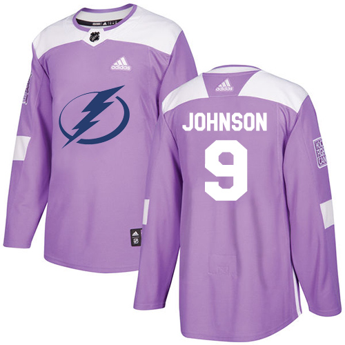 Adidas Lightning #9 Tyler Johnson Purple Authentic Fights Cancer Stitched NHL Jersey