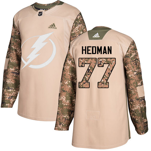 Adidas Lightning #77 Victor Hedman Camo Authentic Veterans Day Stitched NHL Jersey