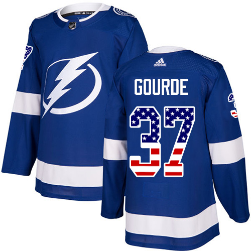 Adidas Lightning #37 Yanni Gourde Blue Home Authentic USA Flag Stitched NHL Jersey