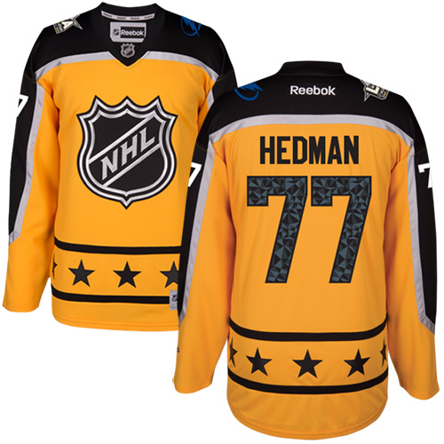 Lightning #77 Victor Hedman Yellow All-Star Atlantic Division Stitched NHL Jersey