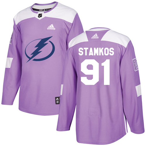 Adidas Lightning #91 Steven Stamkos Purple Authentic Fights Cancer Stitched NHL Jersey