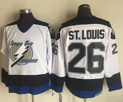 Lightning #26 Martin St. Louis White CCM Throwback Stitched NHL Jersey