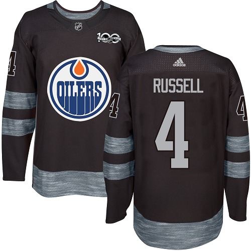 Adidas Oilers #4 Kris Russell Black 1917-100th Anniversary Stitched NHL Jersey