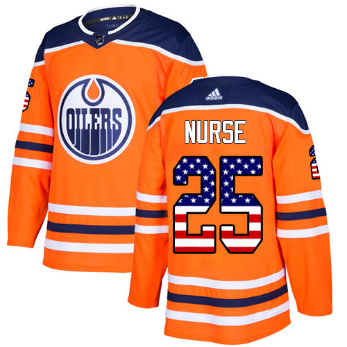 Adidas Oilers #25 Darnell Nurse Orange Home Authentic USA Flag Stitched NHL Jersey