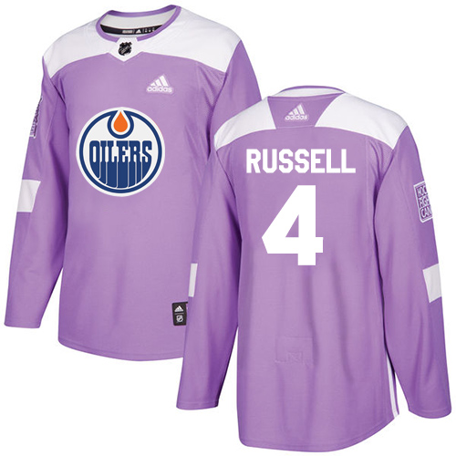 Adidas Oilers #4 Kris Russell Purple Authentic Fights Cancer Stitched NHL Jersey