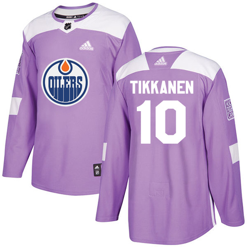 Adidas Oilers #10 Esa Tikkanen Purple Authentic Fights Cancer Stitched NHL Jersey