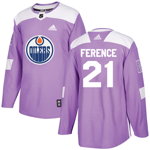 Adidas Oilers #21 Andrew Ference Purple Authentic Fights Cancer Stitched NHL Jersey