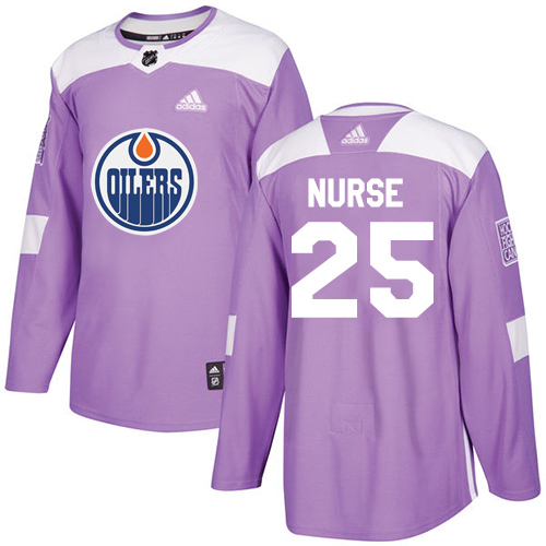 Adidas Oilers #25 Darnell Nurse Purple Authentic Fights Cancer Stitched NHL Jersey
