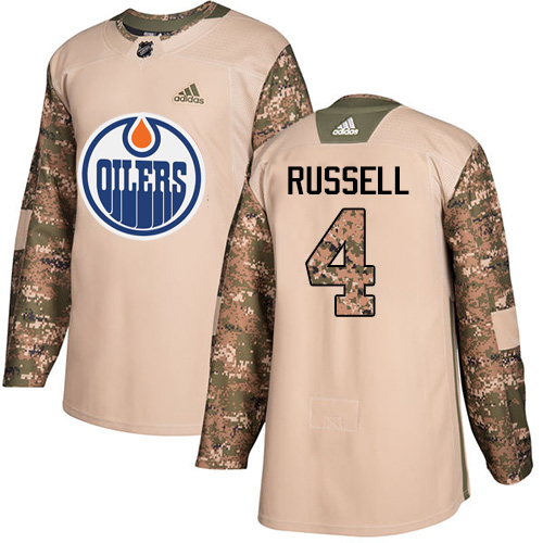 Adidas Oilers #4 Kris Russell Camo Authentic Veterans Day Stitched NHL Jersey