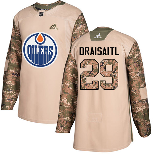 Adidas Oilers #29 Leon Draisaitl Camo Authentic Veterans Day Stitched NHL Jersey