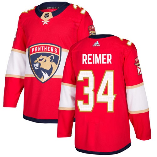 Adidas Panthers #34 James Reimer Red Home Authentic Stitched NHL Jersey