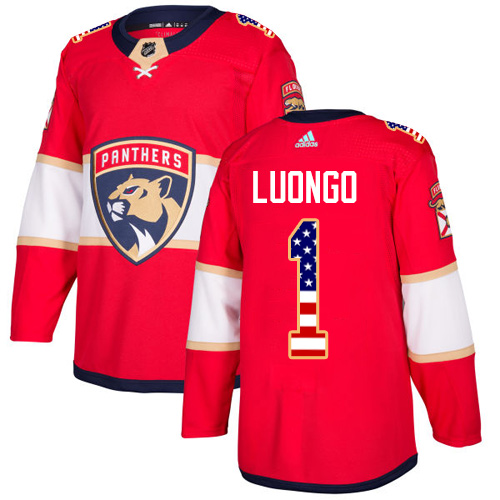 Adidas Panthers #1 Roberto Luongo Red Home Authentic USA Flag Stitched NHL Jersey