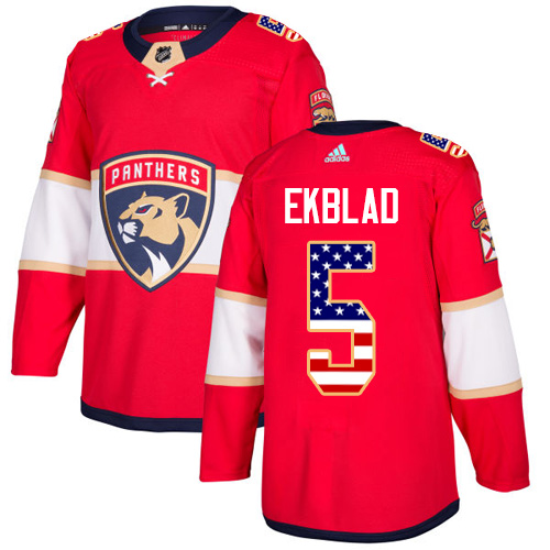 Adidas Panthers #5 Aaron Ekblad Red Home Authentic USA Flag Stitched NHL Jersey