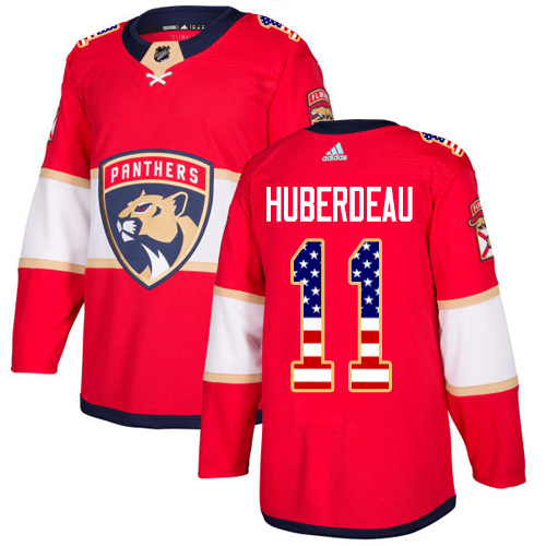 Adidas Panthers #11 Jonathan Huberdeau Red Home Authentic USA Flag Stitched NHL Jersey