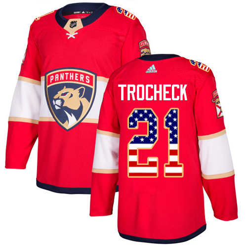 Adidas Panthers #21 Vincent Trocheck Red Home Authentic USA Flag Stitched NHL Jersey