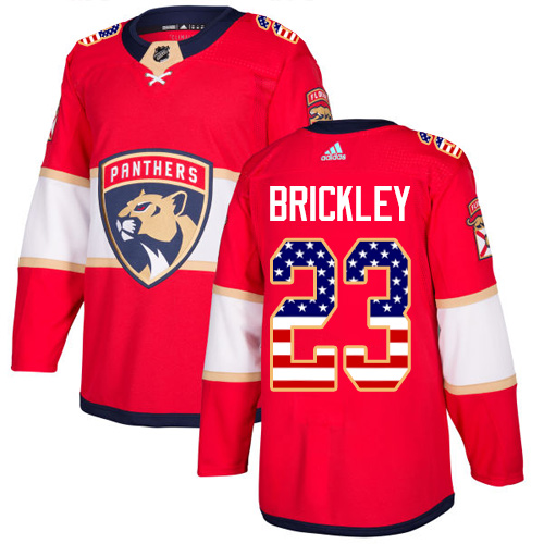 Adidas Panthers #23 Connor Brickley Red Home Authentic USA Flag Stitched NHL Jersey
