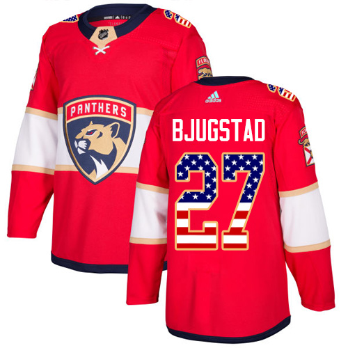 Adidas Panthers #27 Nick Bjugstad Red Home Authentic USA Flag Stitched NHL Jersey